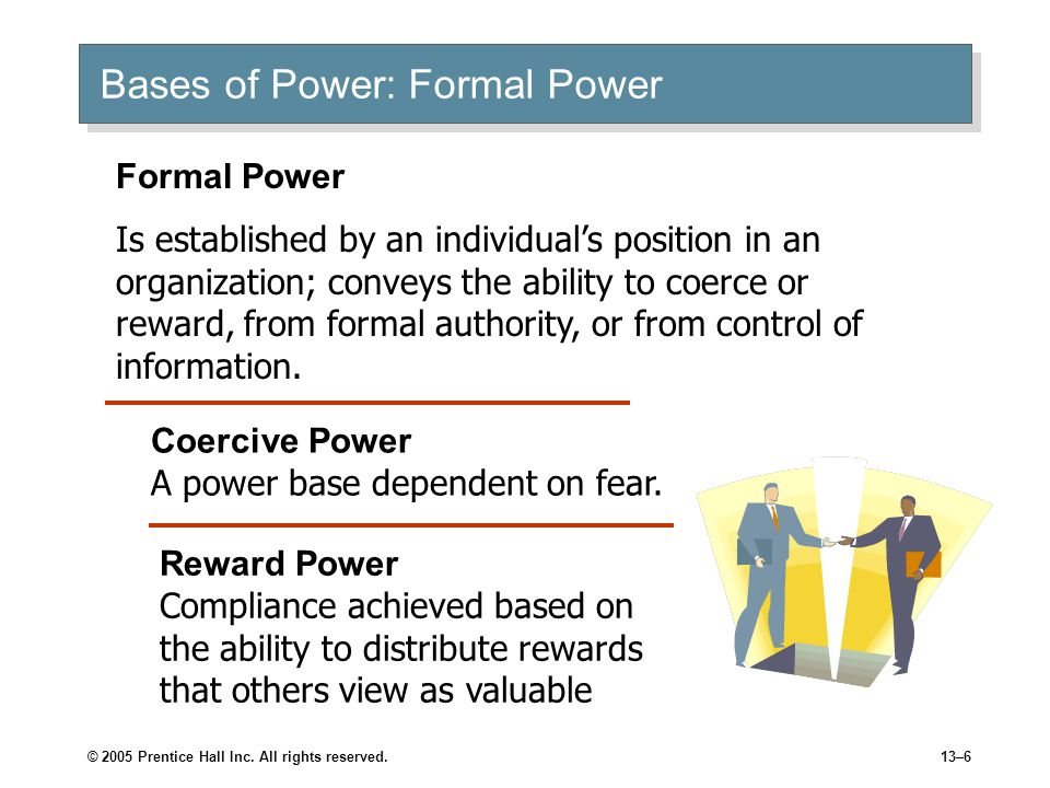 © 2005 Prentice Hall Inc. All rights reserved.13–6 Bases of Power: Formal Power Coercive Power A power base dependent on fear. Reward Power Compliance