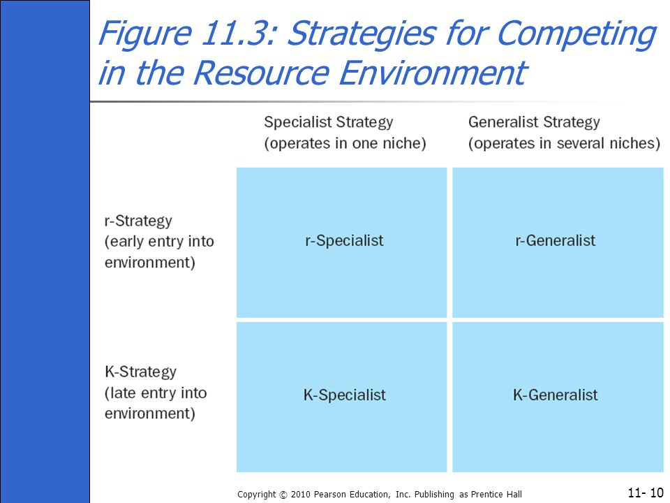 11- Copyright © 2010 Pearson Education, Inc. Publishing as Prentice Hall 10 Figure 11.3: Strategies for Competing in the Resource Environment