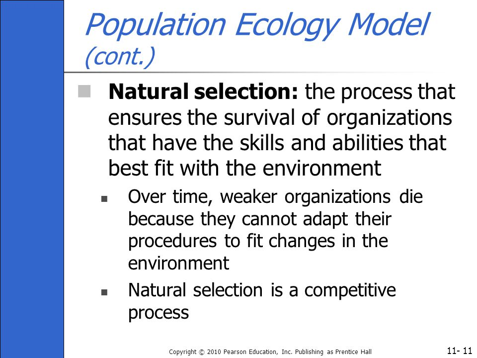 11- Copyright © 2010 Pearson Education, Inc. Publishing as Prentice Hall 11 Population Ecology Model (cont.) Natural selection: the process that ensur
