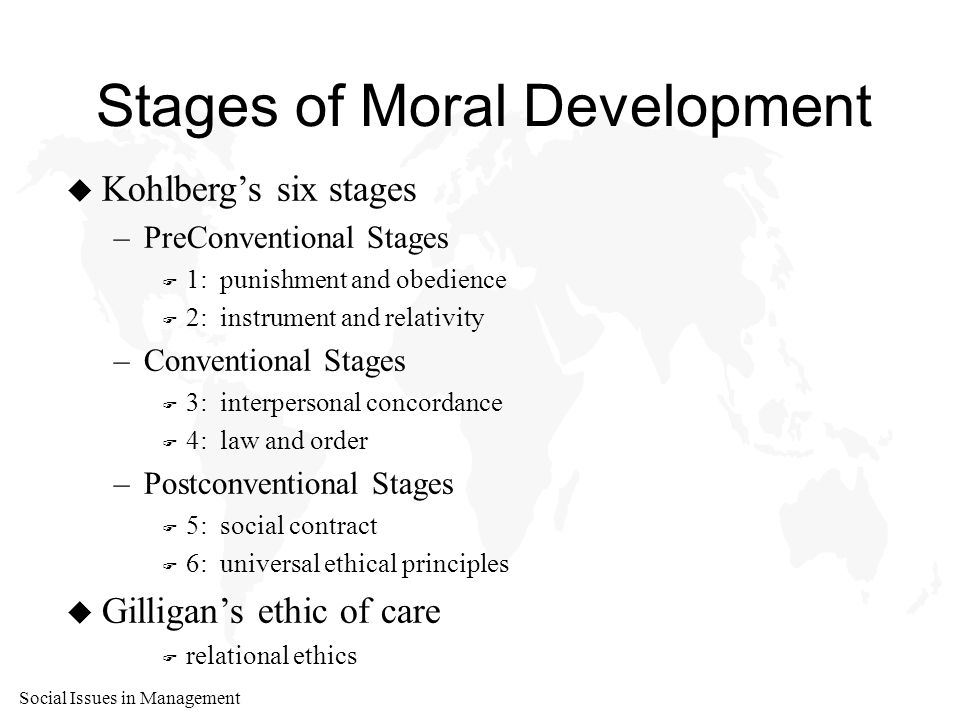 Social Issues in Management Stages of Moral Development u Kohlberg's six stages –PreConventional Stages F 1: punishment and obedience F 2: instrument and relativity –Conventional Stages F 3: interpersonal concordance F 4: law and order –Postconventional Stages F 5: social contract F 6: universal ethical principles u Gilligan's ethic of care F relational ethics
