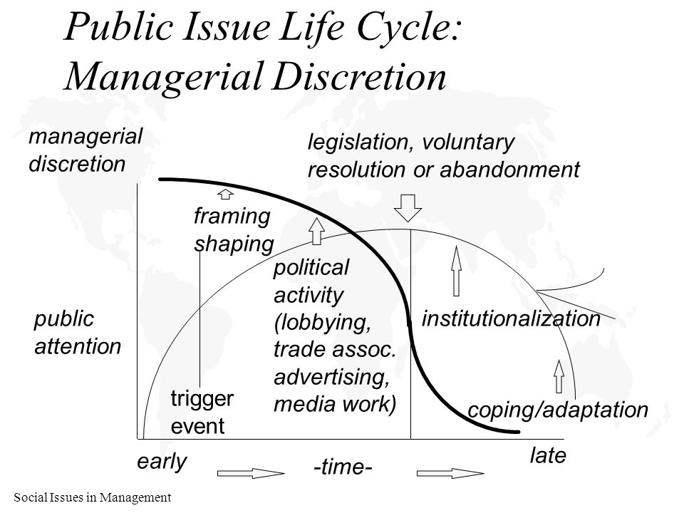 Social Issues in Management Public Issue Life Cycle: Managerial Discretion public attention -time- early late legislation, voluntary resolution or abandonment managerial discretion framing shaping coping/adaptation institutionalization political activity (lobbying, trade assoc.