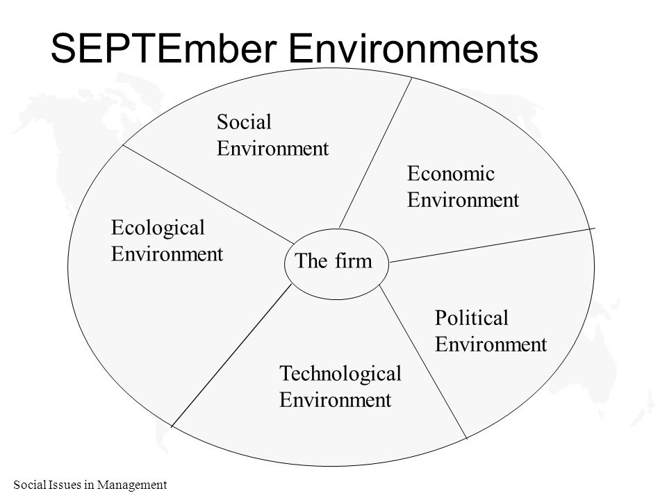 Social Issues in Management SEPTEmber Environments The firm Social Environment Economic Environment Political Environment Ecological Environment Technological Environment