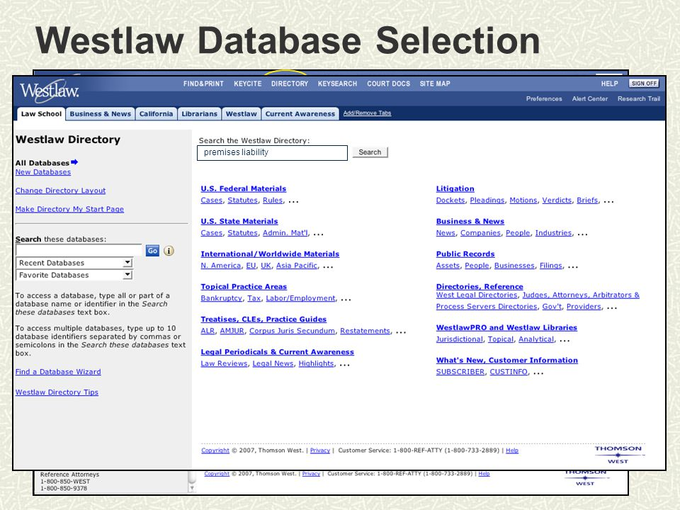 Westlaw Database Selection Michigan Law Review premises liability