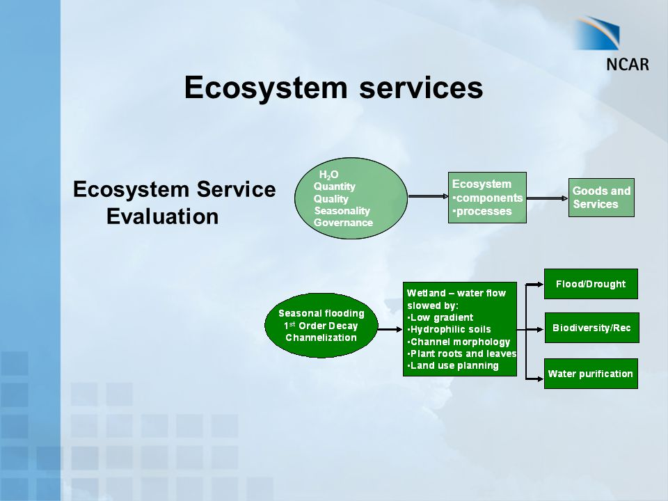 Ecosystem components processes Goods and Services H 2 O Quantity Quality Seasonality Governance Ecosystem components processes Goods and Services H 2