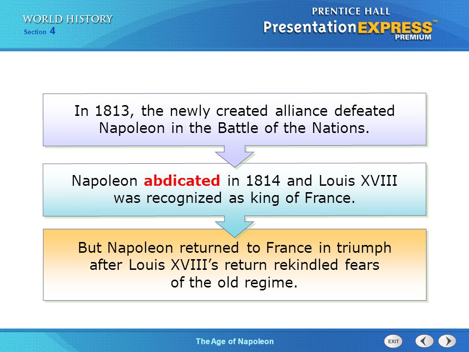 Chapter 25 Section 1 The Cold War BeginsThe Age of Napoleon Section 4 But Napoleon returned to France in triumph after Louis XVIII's return rekindled