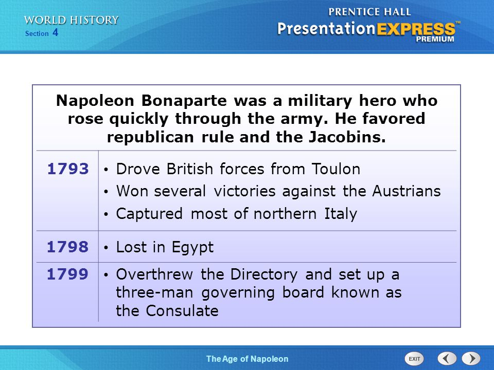 Chapter 25 Section 1 The Cold War BeginsThe Age of Napoleon Section 4 Napoleon Bonaparte was a military hero who rose quickly through the army. He fav