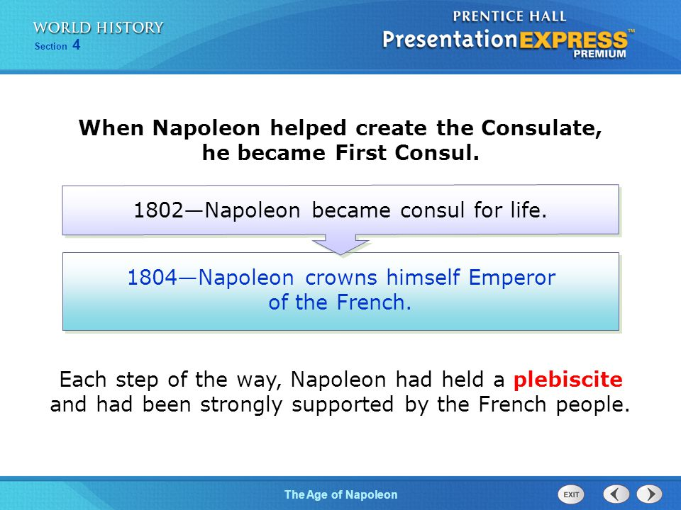 Chapter 25 Section 1 The Cold War BeginsThe Age of Napoleon Section 4 1804—Napoleon crowns himself Emperor of the French. 1802—Napoleon became consul