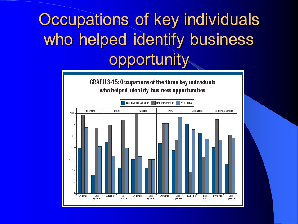 Occupations of key individuals who helped identify business opportunity