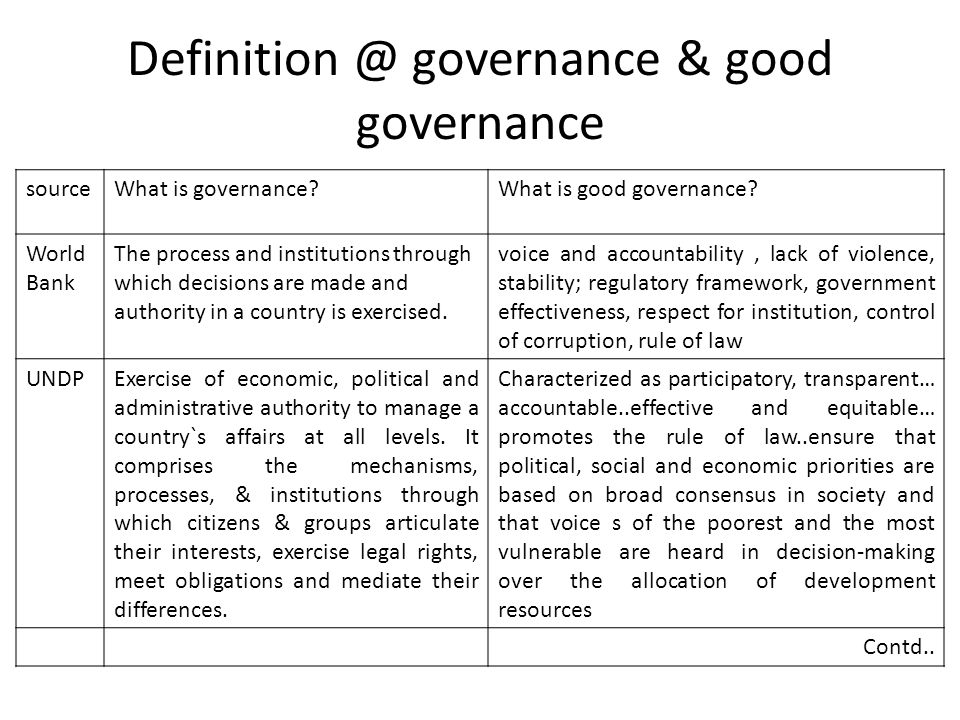 Definition @ governance & good governance sourceWhat is governance?What is good governance? World Bank The process and institutions through which deci