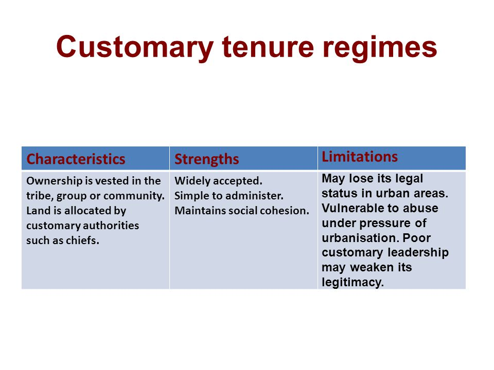 Customary tenure regimes CharacteristicsStrengths Limitations Ownership is vested in the tribe, group or community.