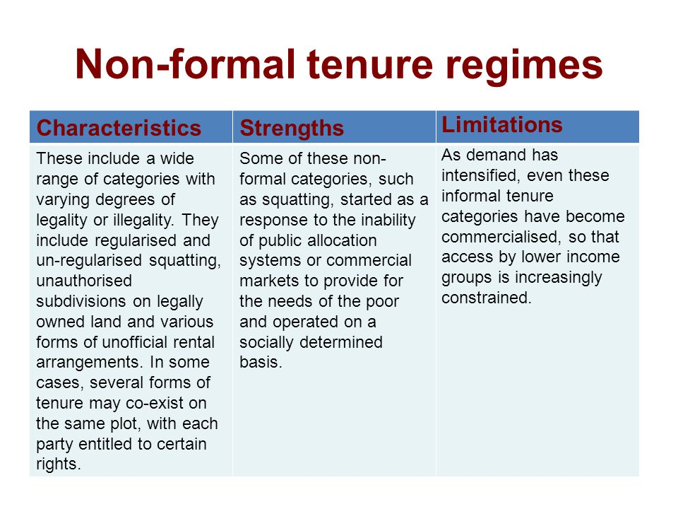 Non-formal tenure regimes CharacteristicsStrengths Limitations These include a wide range of categories with varying degrees of legality or illegality.