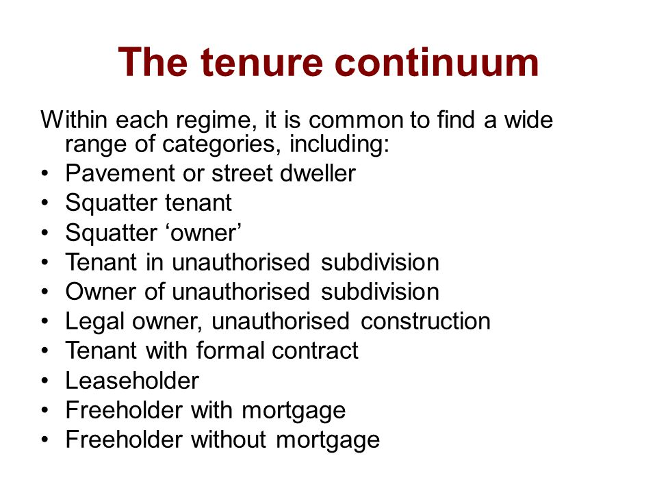 The tenure continuum Within each regime, it is common to find a wide range of categories, including: Pavement or street dweller Squatter tenant Squatter 'owner' Tenant in unauthorised subdivision Owner of unauthorised subdivision Legal owner, unauthorised construction Tenant with formal contract Leaseholder Freeholder with mortgage Freeholder without mortgage