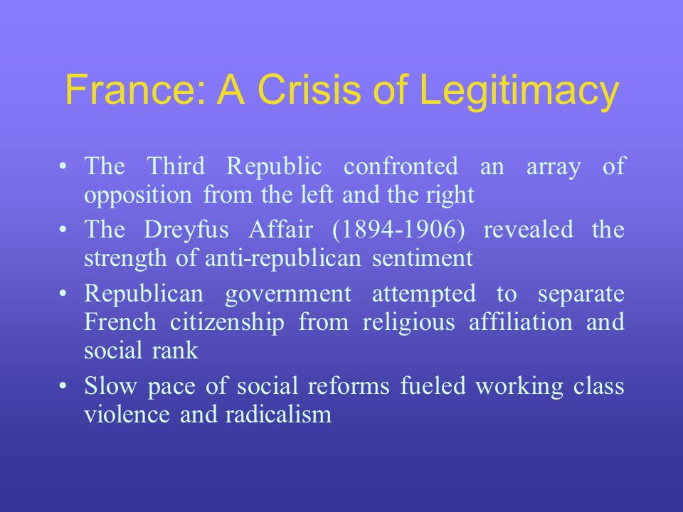 France: A Crisis of Legitimacy The Third Republic confronted an array of opposition from the left and the right The Dreyfus Affair (1894-1906) revealed the strength of anti-republican sentiment Republican government attempted to separate French citizenship from religious affiliation and social rank Slow pace of social reforms fueled working class violence and radicalism