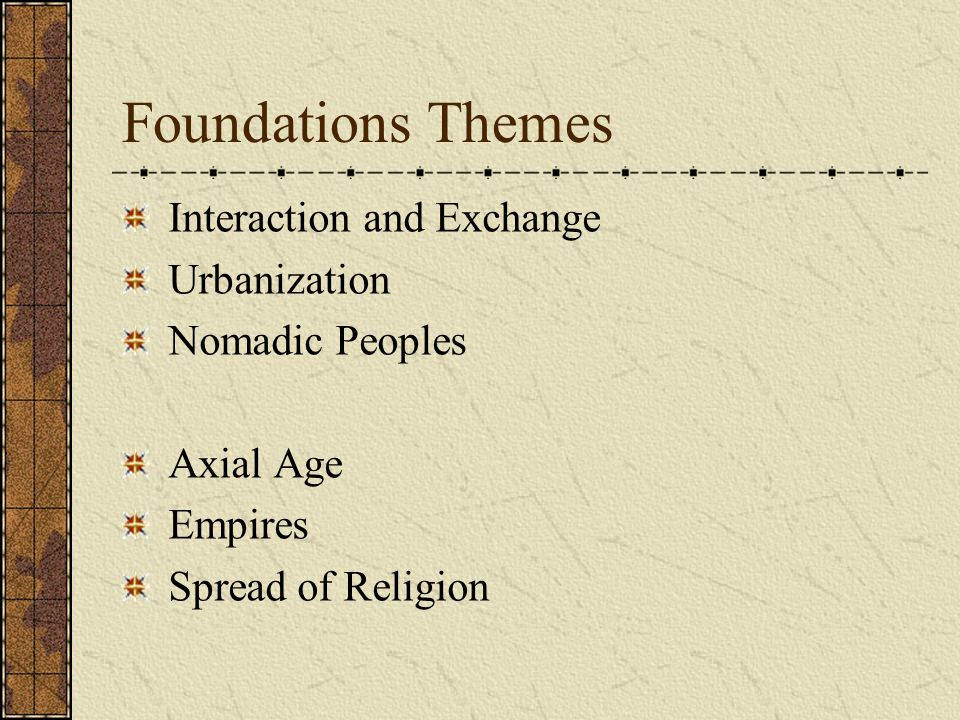 Foundations Themes Interaction and Exchange Urbanization Nomadic Peoples Axial Age Empires Spread of Religion