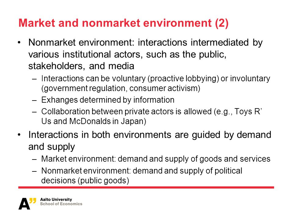 Market and nonmarket environment (2) Nonmarket environment: interactions intermediated by various institutional actors, such as the public, stakeholde