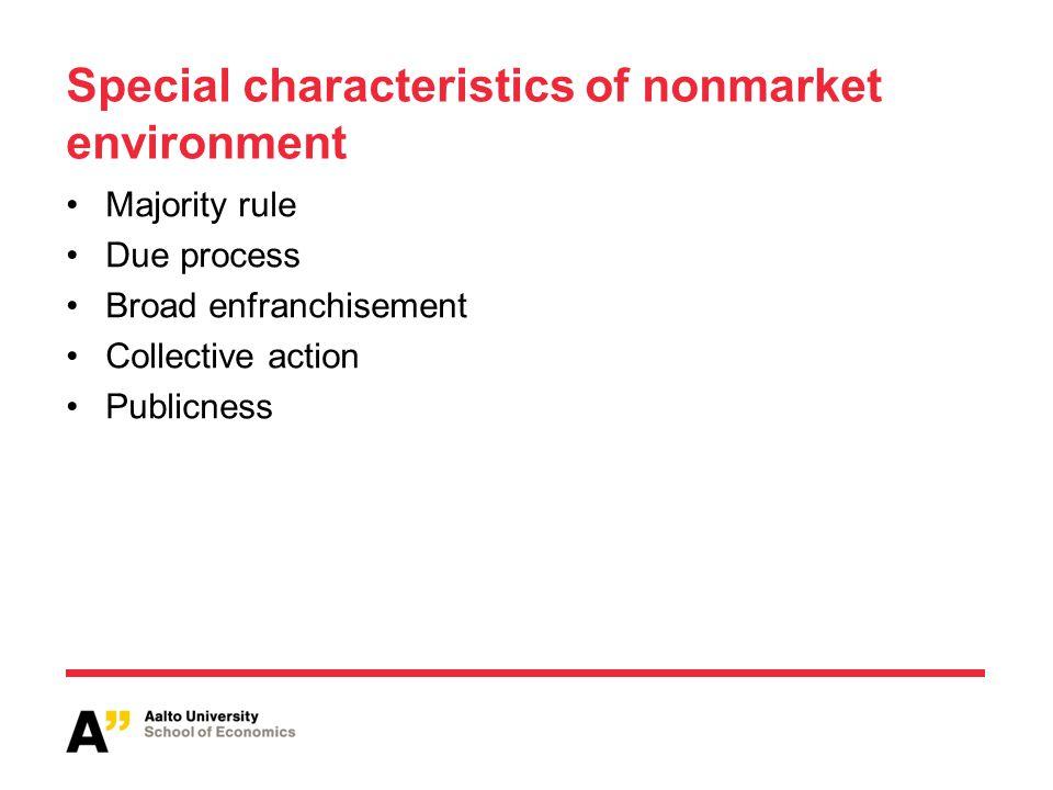 Special characteristics of nonmarket environment Majority rule Due process Broad enfranchisement Collective action Publicness