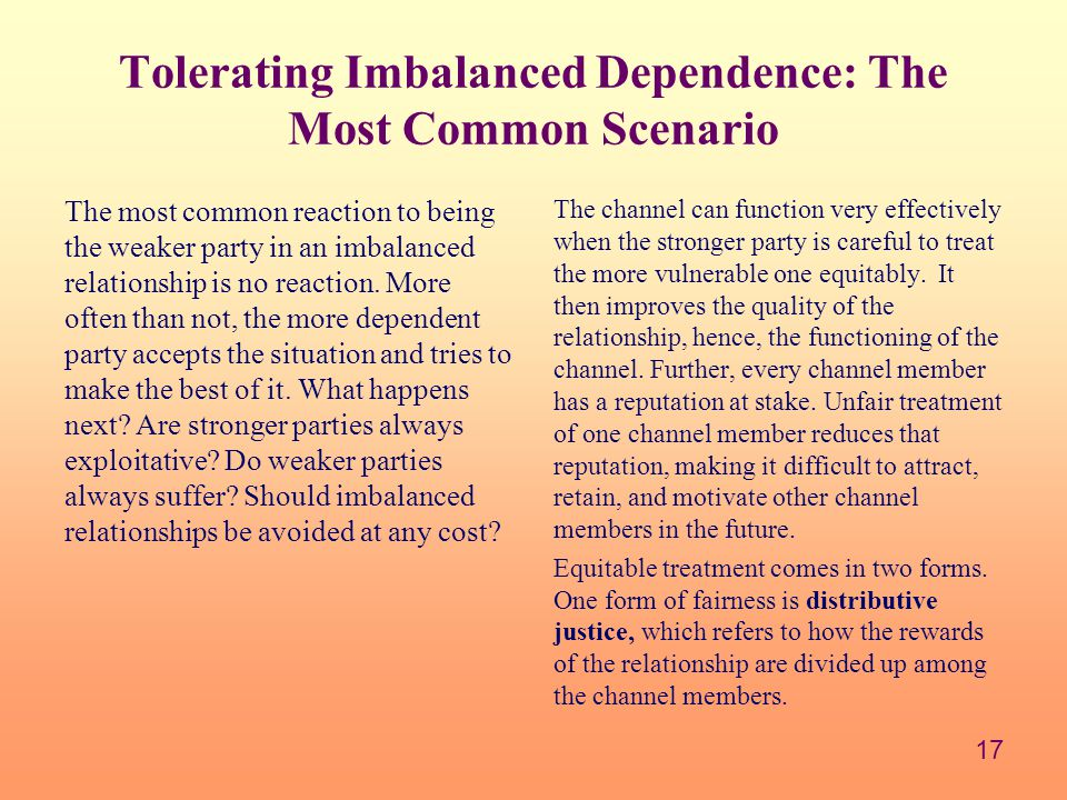 17 Tolerating Imbalanced Dependence: The Most Common Scenario The most common reaction to being the weaker party in an imbalanced relationship is no reaction.