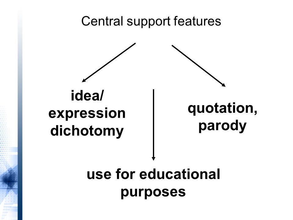 idea/ expression dichotomy quotation, parody use for educational purposes Central support features