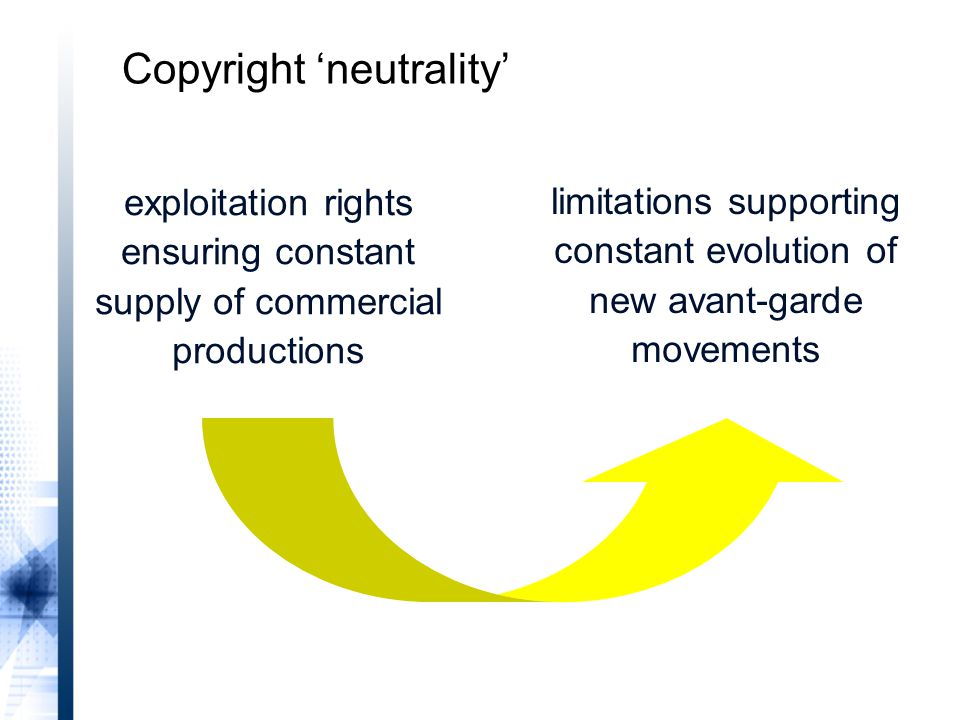 exploitation rights ensuring constant supply of commercial productions limitations supporting constant evolution of new avant-garde movements Copyright 'neutrality'