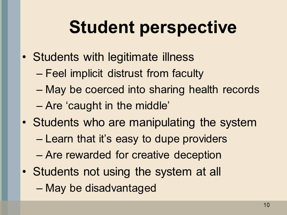 Student perspective Students with legitimate illness –Feel implicit distrust from faculty –May be coerced into sharing health records –Are 'caught in