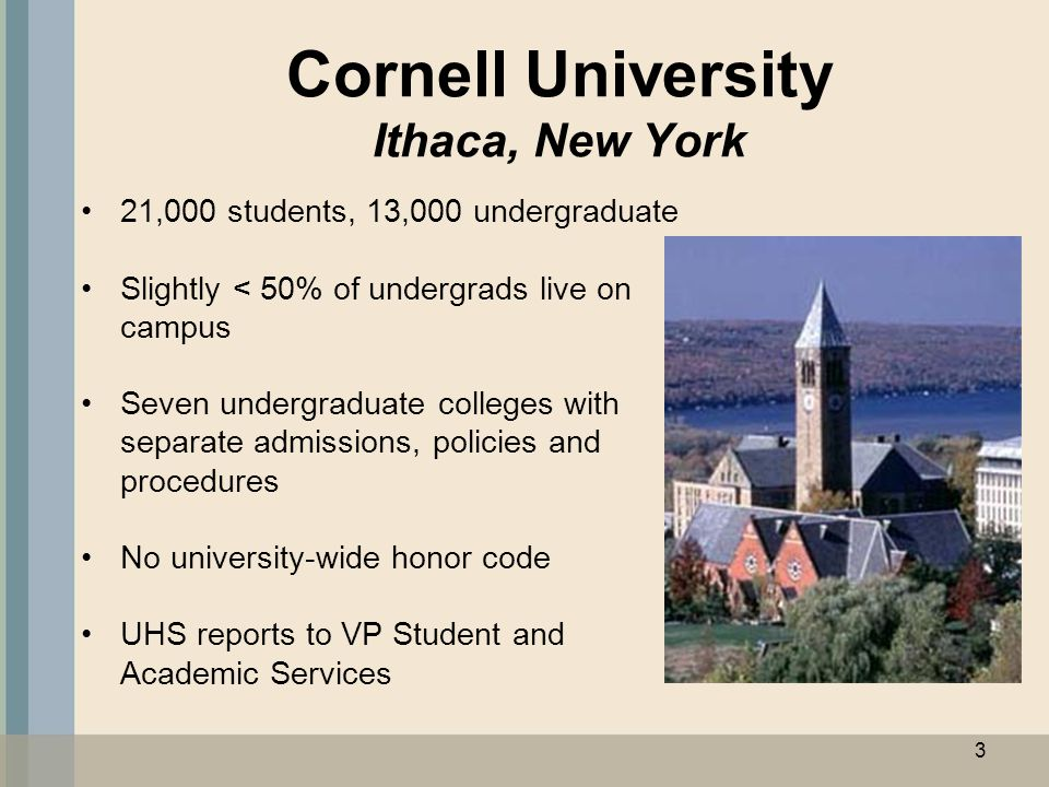 Cornell University Ithaca, New York 21,000 students, 13,000 undergraduate Slightly < 50% of undergrads live on campus Seven undergraduate colleges wit