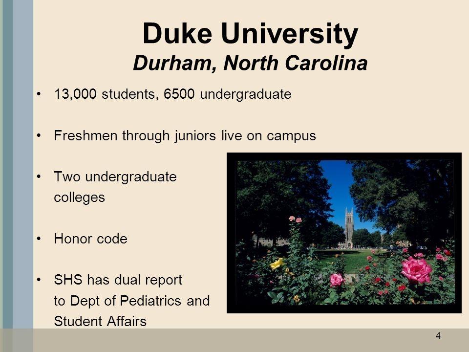 Duke University Durham, North Carolina 13,000 students, 6500 undergraduate Freshmen through juniors live on campus Two undergraduate colleges Honor code SHS has dual report to Dept of Pediatrics and Student Affairs 4