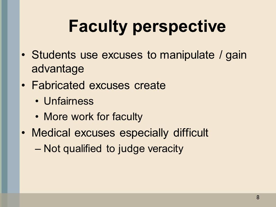 Dean's perspective Need to be involved to administer process Take burden off individual faculty members Able to maintain objectivity In a position to identify patterns of abuse 9