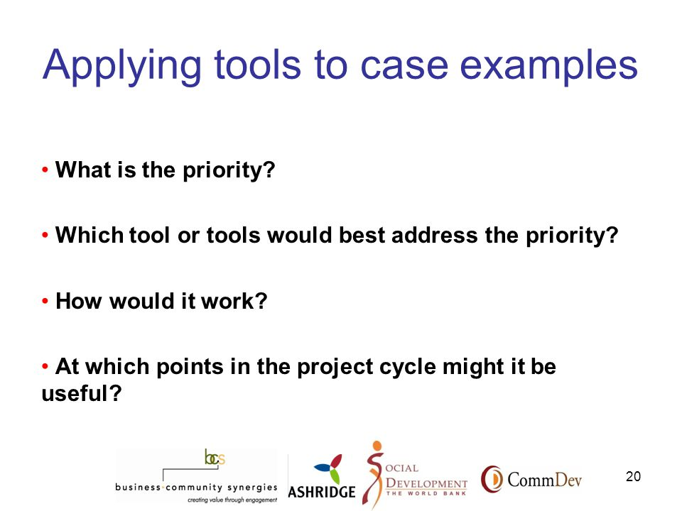 20 Applying tools to case examples What is the priority.