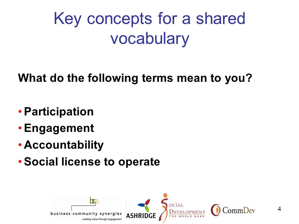 4 Key concepts for a shared vocabulary What do the following terms mean to you.