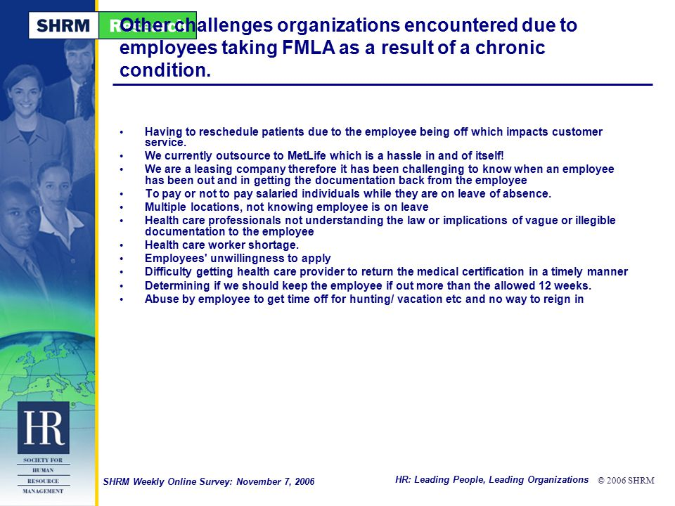 HR: Leading People, Leading Organizations © 2006 SHRM SHRM Weekly Online Survey: November 7, 2006 Other challenges organizations encountered due to employees taking FMLA as a result of a chronic condition.