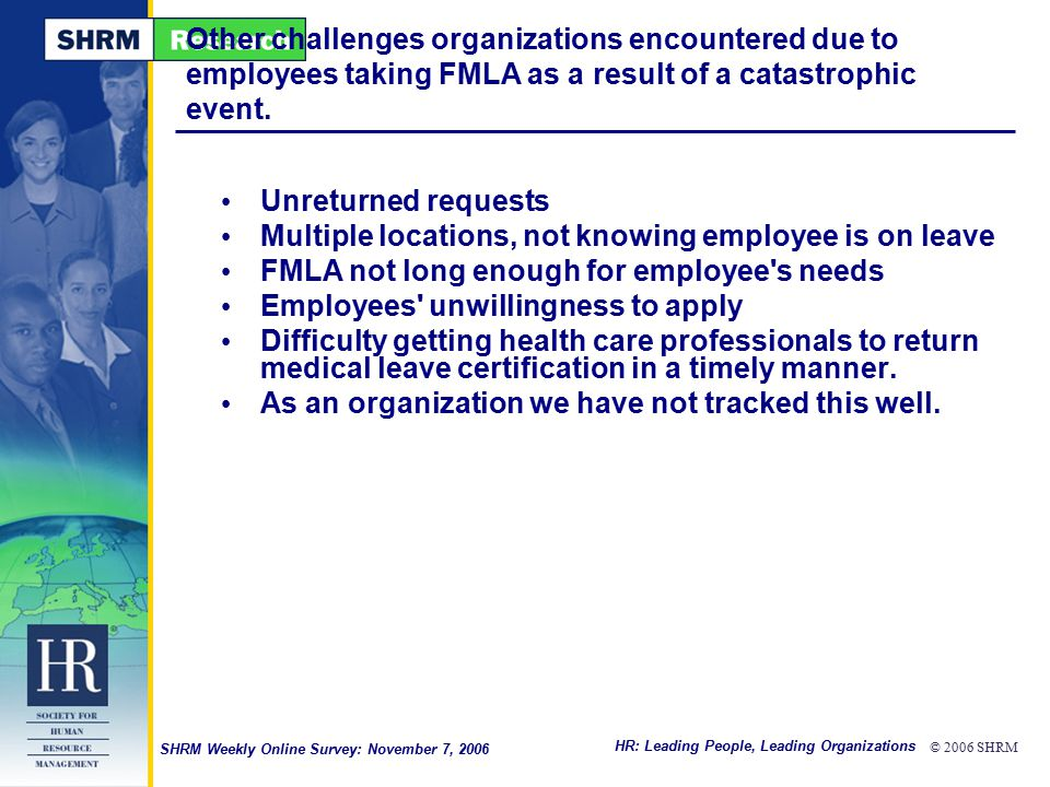 HR: Leading People, Leading Organizations © 2006 SHRM SHRM Weekly Online Survey: November 7, 2006 Other challenges organizations encountered due to employees taking FMLA as a result of a catastrophic event.