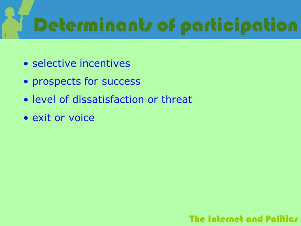 The Internet and Politics Determinants of participation selective incentives prospects for success level of dissatisfaction or threat exit or voice