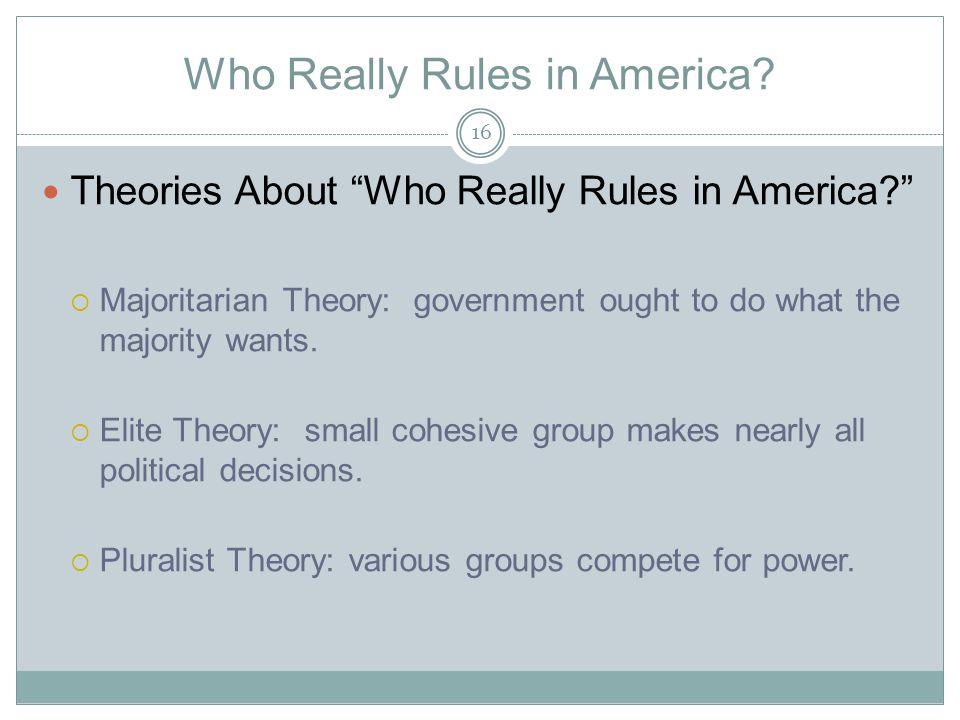 Who Really Rules in America.
