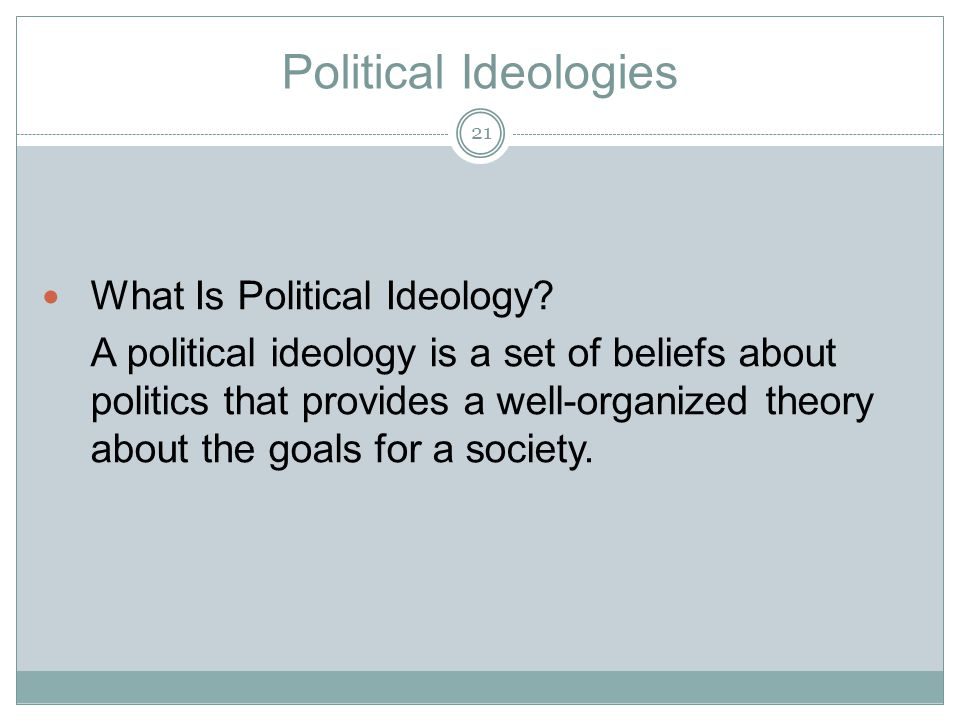 Political Ideologies What Is Political Ideology.