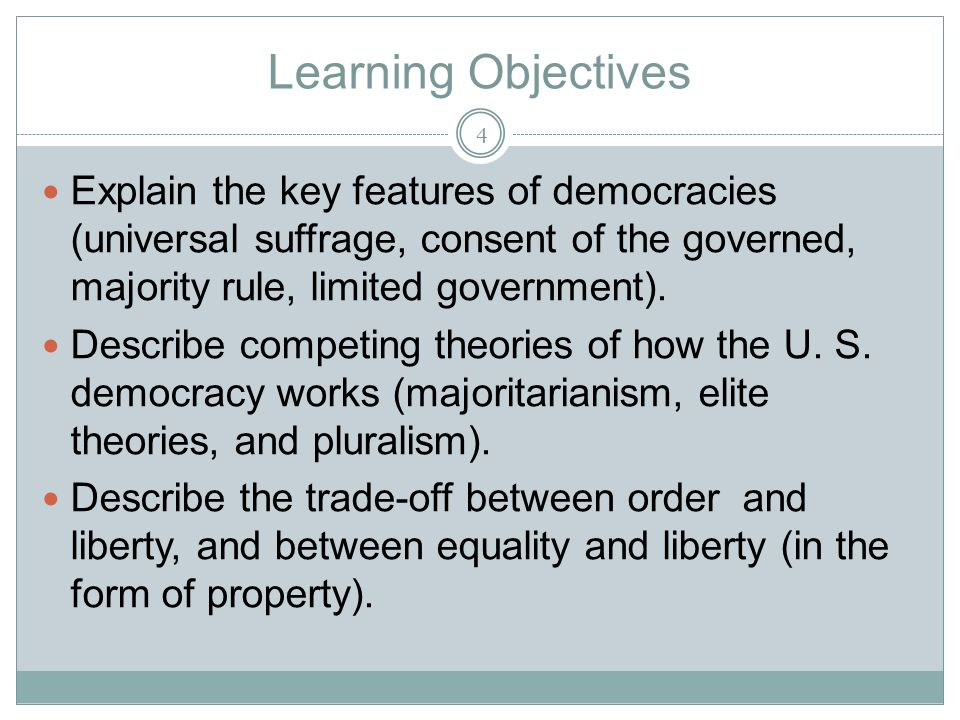 Learning Objectives Explain the key features of democracies (universal suffrage, consent of the governed, majority rule, limited government). Describe