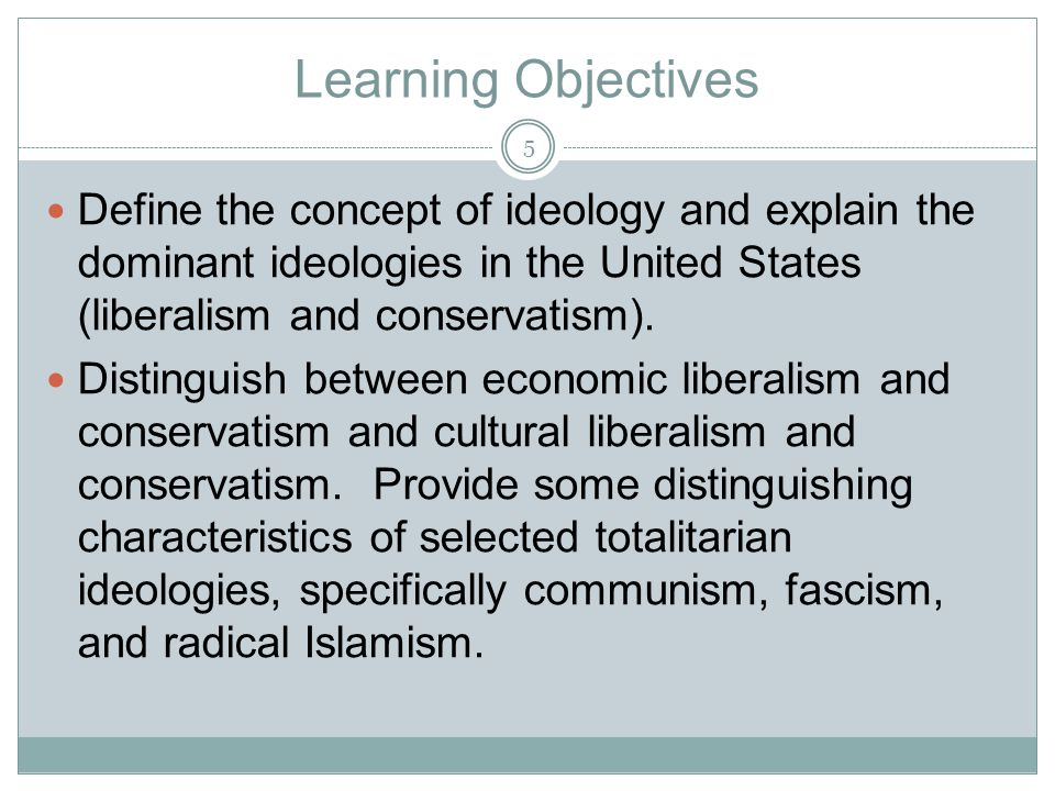 Learning Objectives Define the concept of ideology and explain the dominant ideologies in the United States (liberalism and conservatism). Distinguish