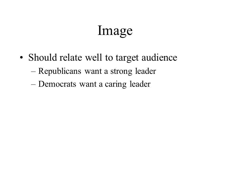 Image Should relate well to target audience –Republicans want a strong leader –Democrats want a caring leader