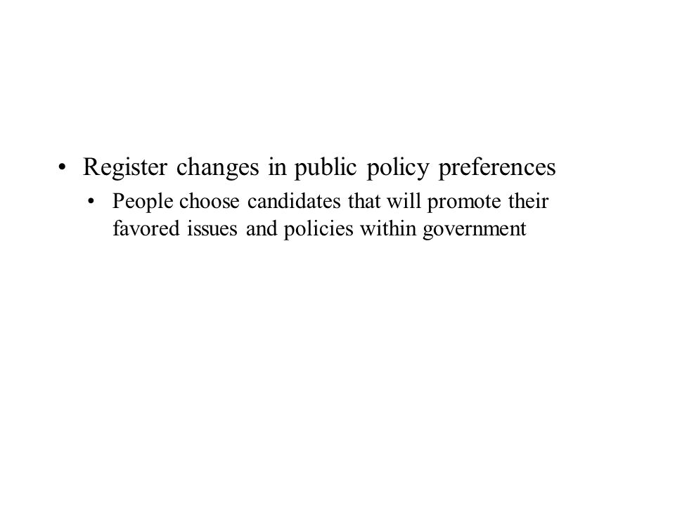 Register changes in public policy preferences People choose candidates that will promote their favored issues and policies within government