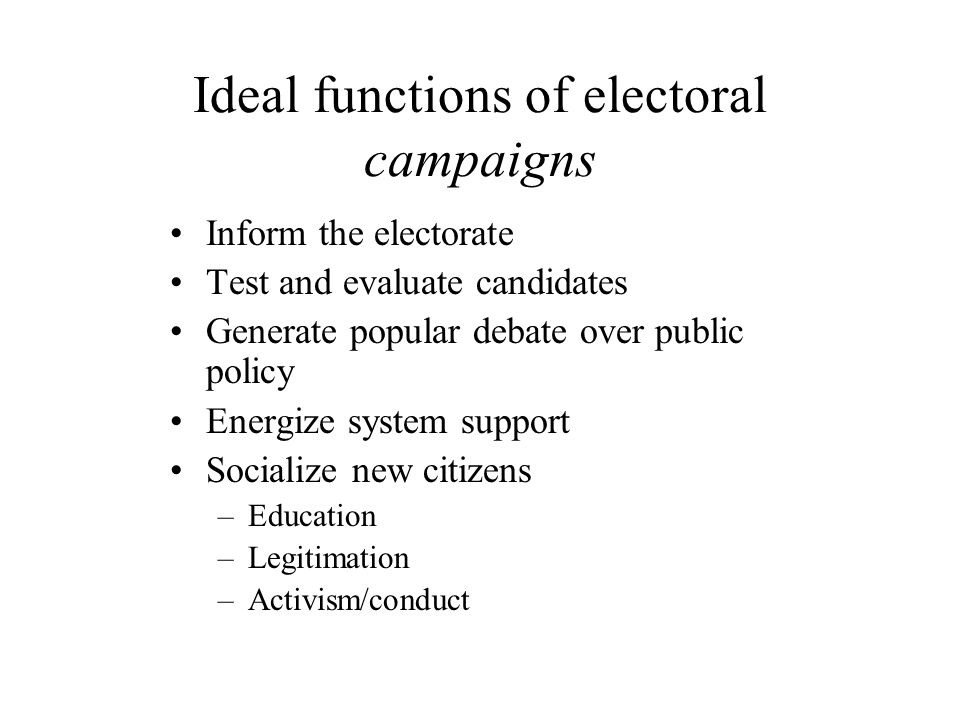 Approaches to campaigning Open forum/policy debate Marketing campaign