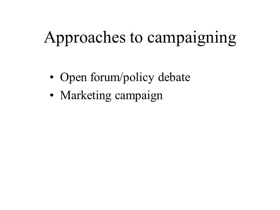 To meet the democratic ideal, a campaign would Engage the [entire] public in a thoughtful debate over public policy, reveal the character, ideology and policy preferences of the candidates for public office, act as a watchdog to see that the process is clean, and encourage the public to take action to promote its interests by voting and other political acts.