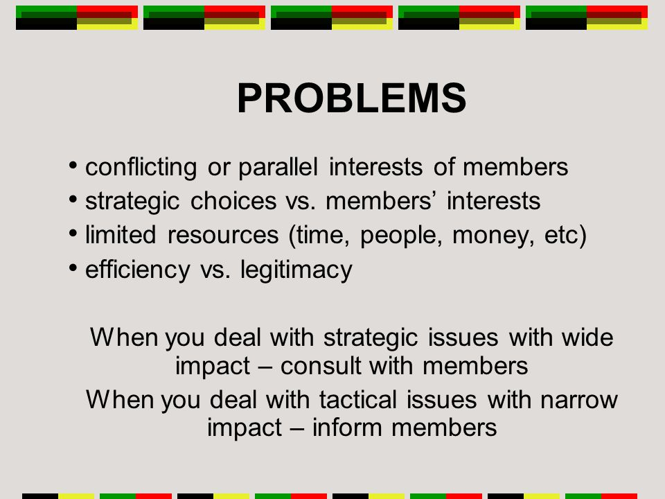 PROBLEMS conflicting or parallel interests of members strategic choices vs.