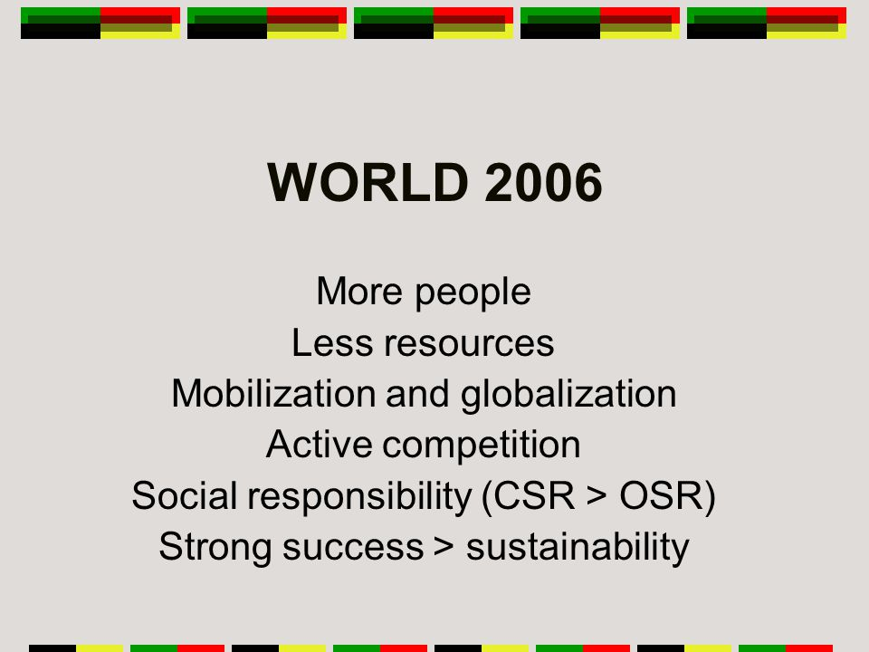 WORLD 2006 More people Less resources Mobilization and globalization Active competition Social responsibility (CSR > OSR) Strong success > sustainability