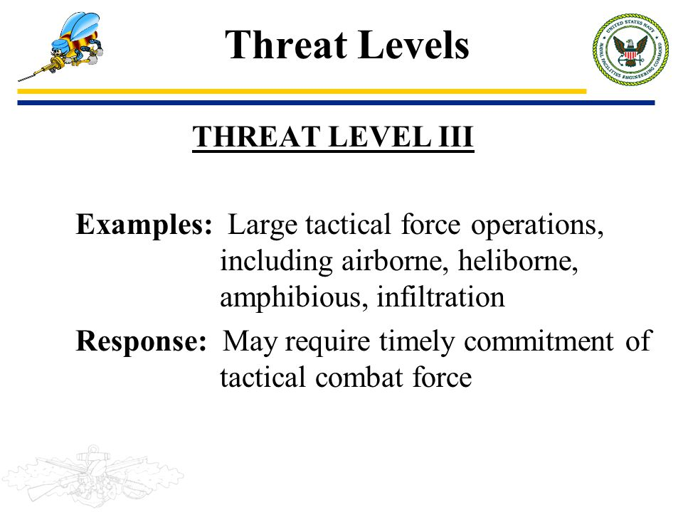 Threat Levels THREAT LEVEL III Examples: Large tactical force operations, including airborne, heliborne, amphibious, infiltration Response: May requir