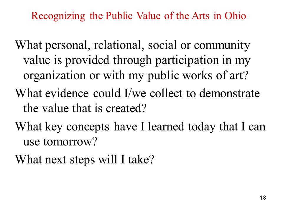18 What personal, relational, social or community value is provided through participation in my organization or with my public works of art.