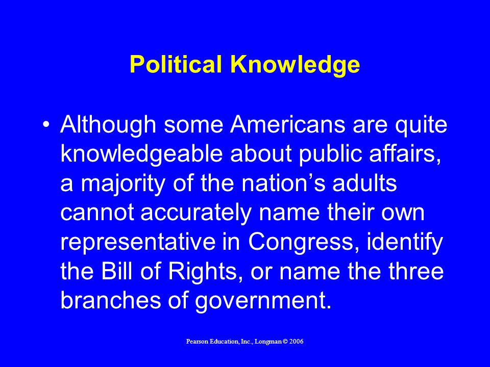 Pearson Education, Inc., Longman © 2006 Political Knowledge Although some Americans are quite knowledgeable about public affairs, a majority of the na