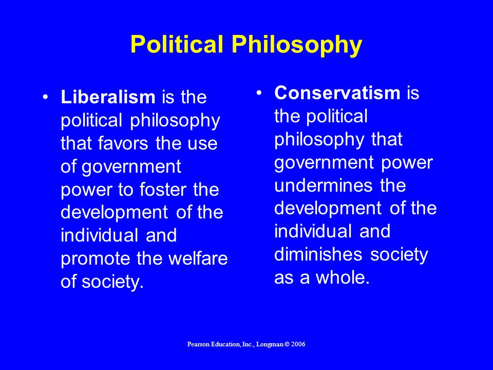 Pearson Education, Inc., Longman © 2006 Political Philosophy Liberalism is the political philosophy that favors the use of government power to foster