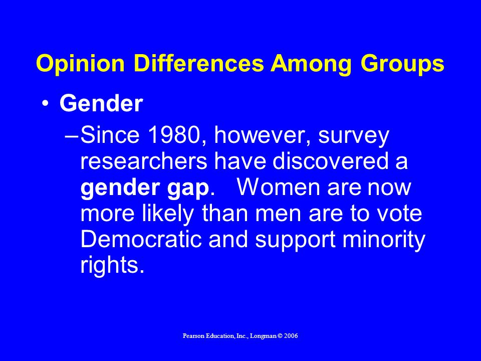Pearson Education, Inc., Longman © 2006 Opinion Differences Among Groups Gender –Since 1980, however, survey researchers have discovered a gender gap.