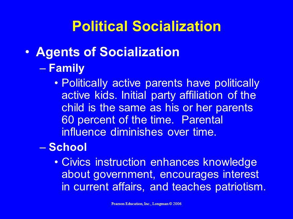 Pearson Education, Inc., Longman © 2006 Political Socialization Agents of Socialization –Family Politically active parents have politically active kids.