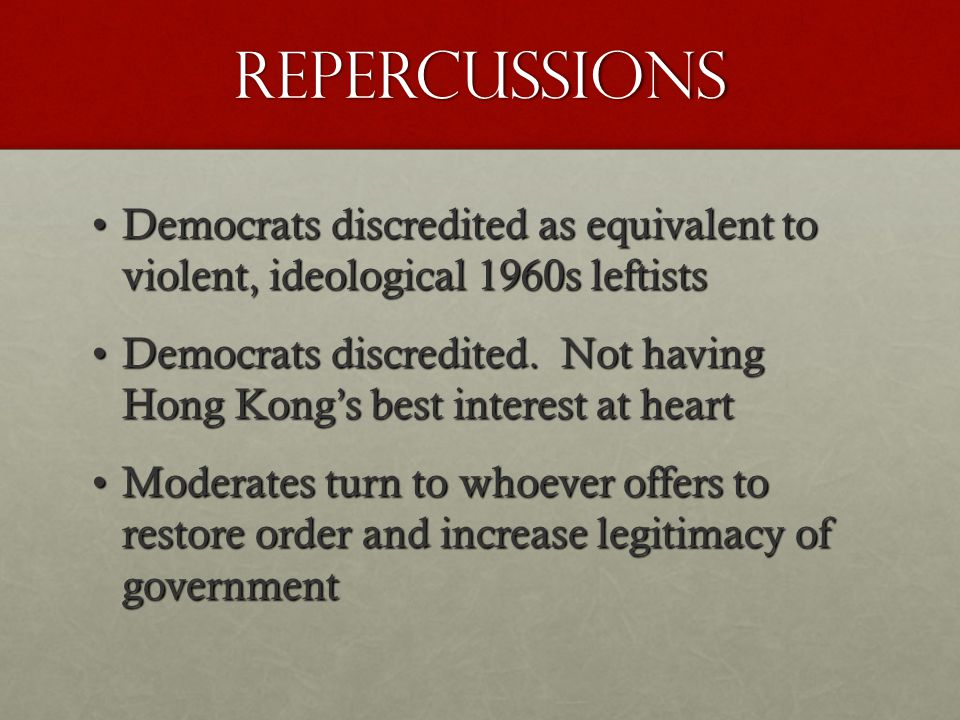 Repercussions Democrats discredited as equivalent to violent, ideological 1960s leftistsDemocrats discredited as equivalent to violent, ideological 1960s leftists Democrats discredited.