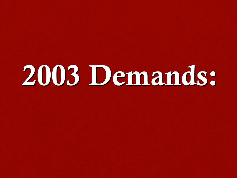 2003 Demands: